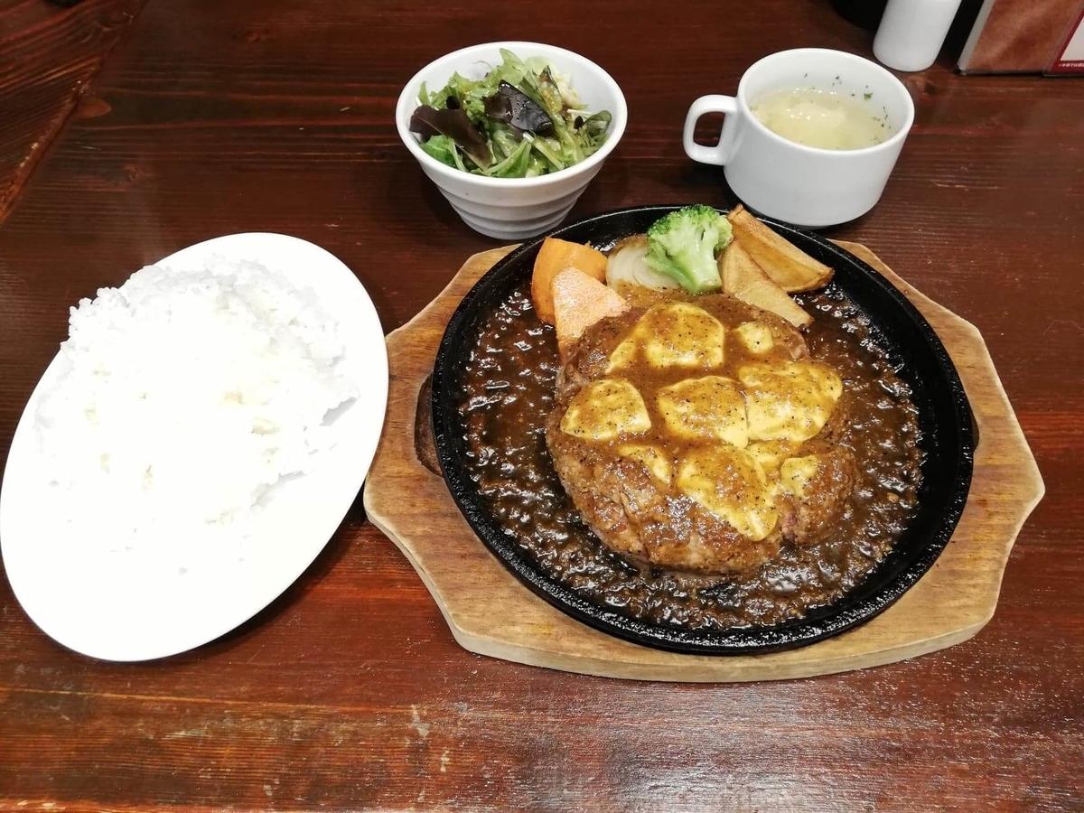池袋『札幌牛亭』の、平日ランチタイム限定ハンバーグステーキセットのセット写真