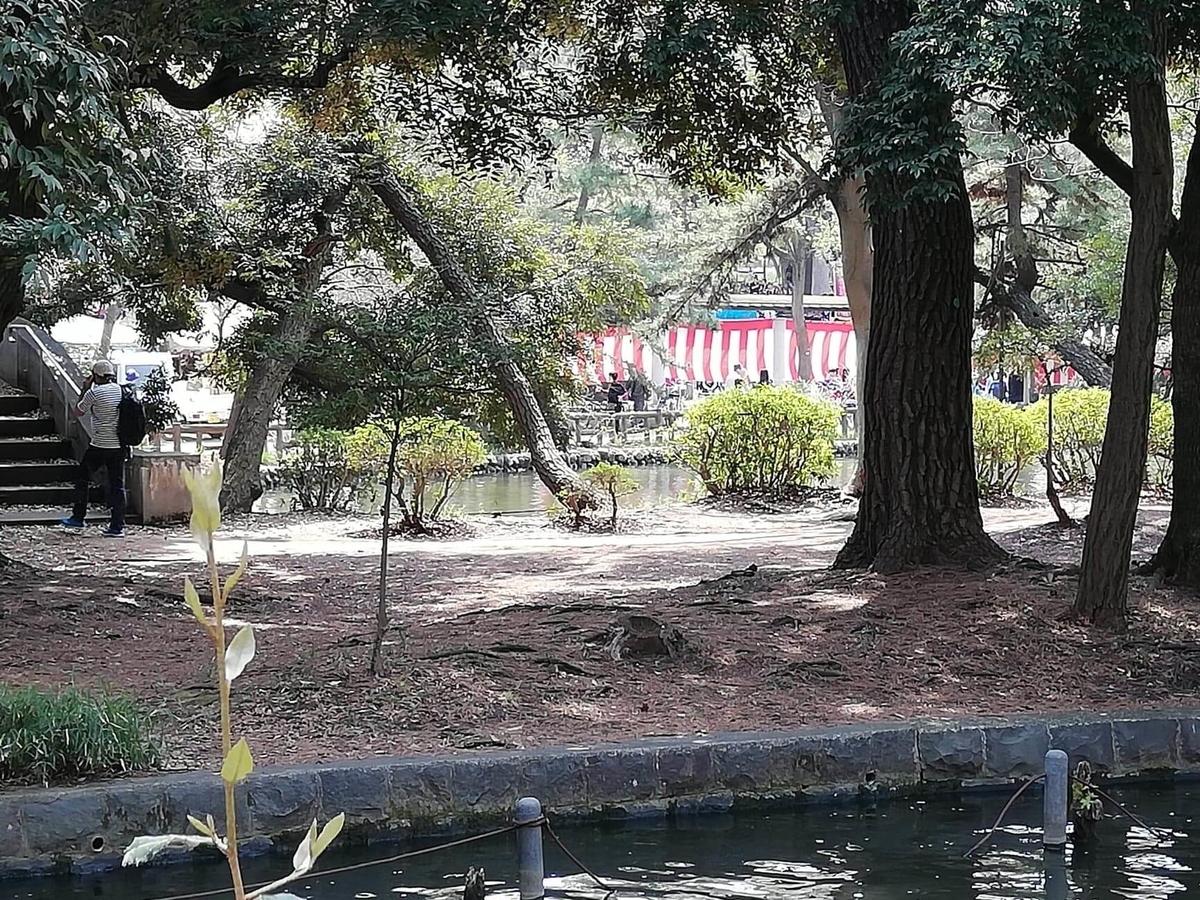 『石神井公園』の石神井池沿いにある紅白幕の写真