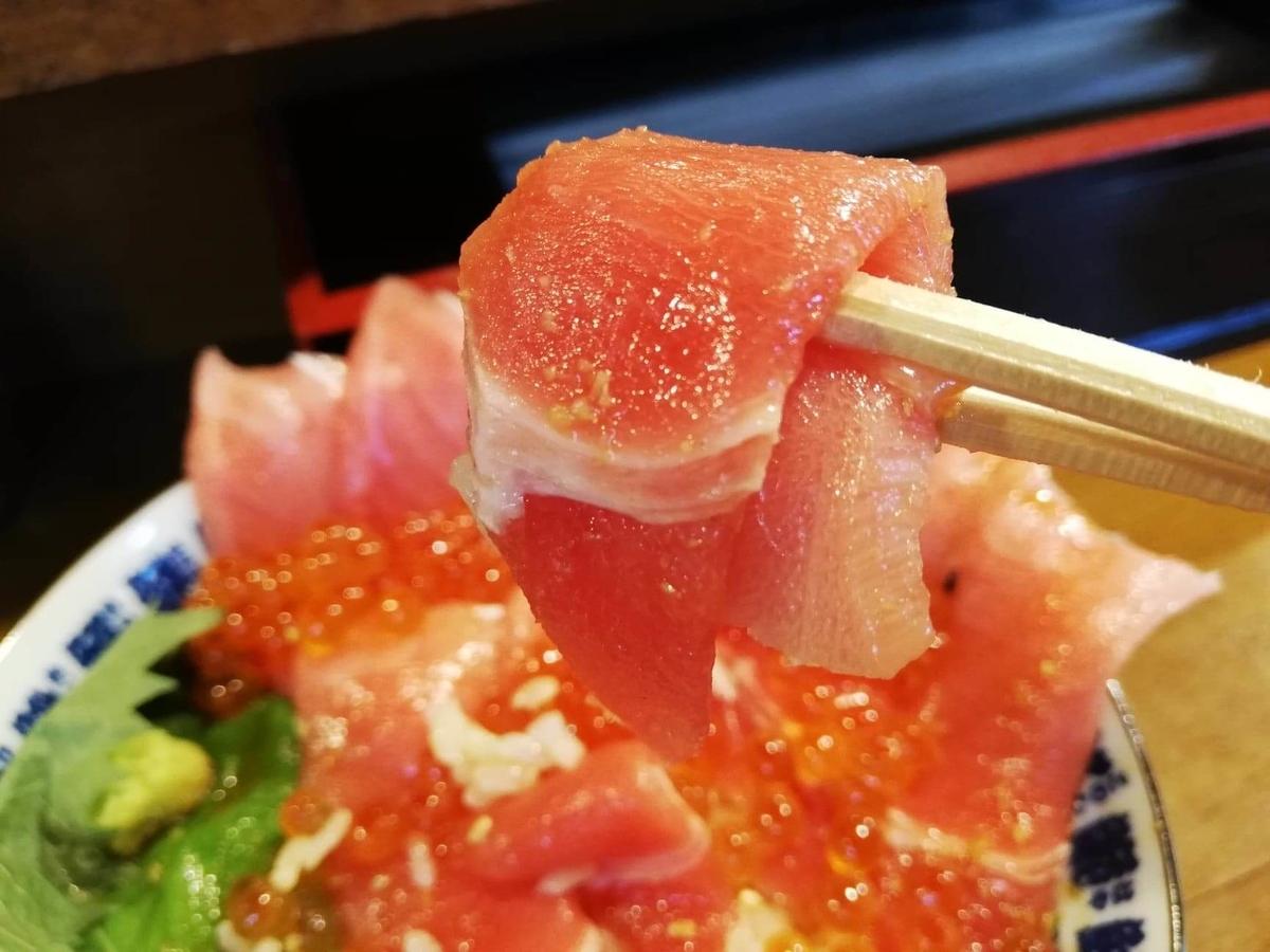 立川『モンロー』の天然本まぐろ中とろマシマシいくらマシマシ海鮮丼のまぐろを、箸で掴んでいる写真