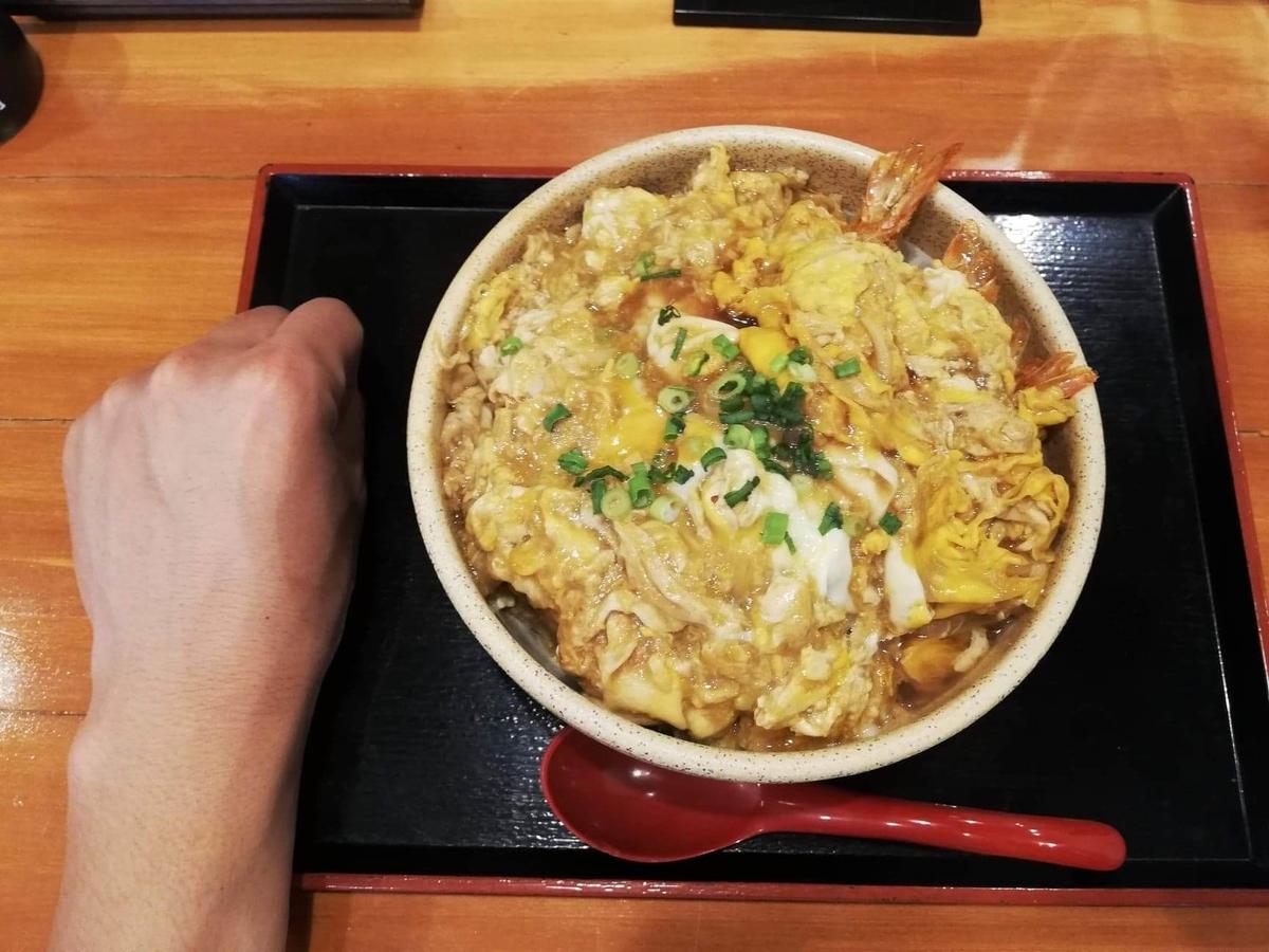 大宮『杉本の店』の海老フライ丼と拳のサイズ比較写真