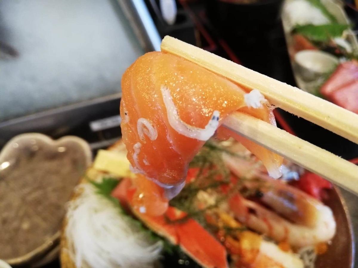 北千住『市場食堂さかなや』のサーモンの写真
