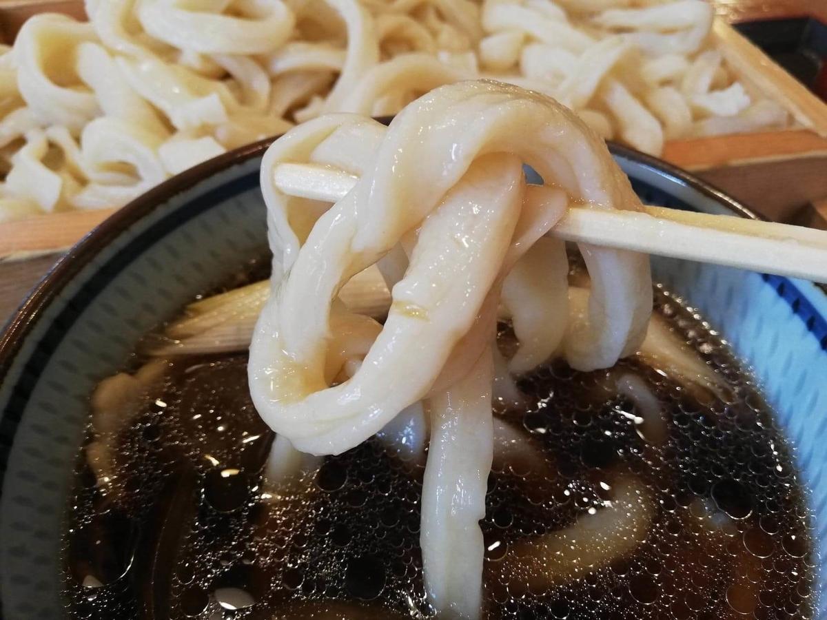 池袋『うちたて家』の麺を箸で掴んでいる写真
