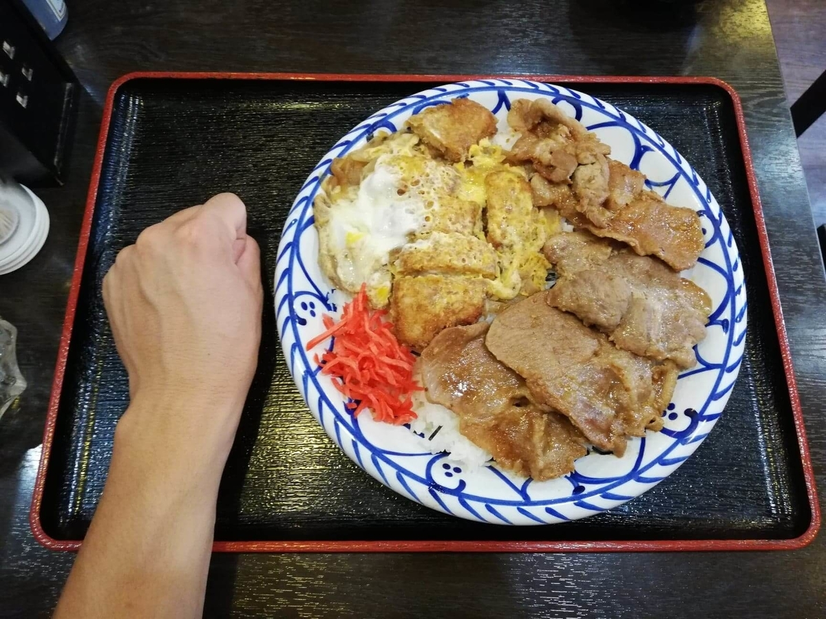 東池袋『伊東食堂』の鳥羽の山丼と拳のサイズ比較写真