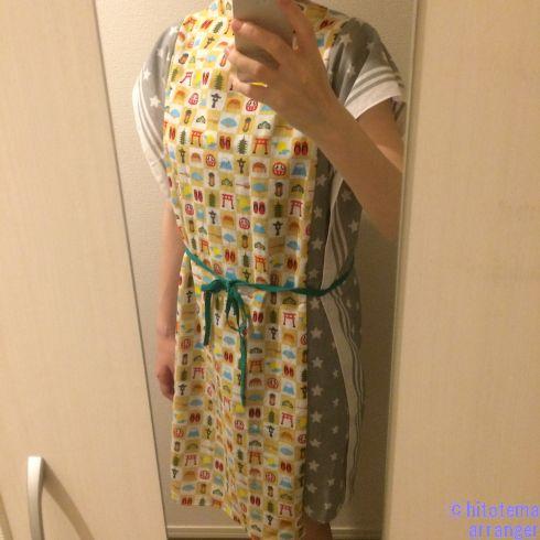 手ぬぐいで作った湯上がり着を着用した画像です