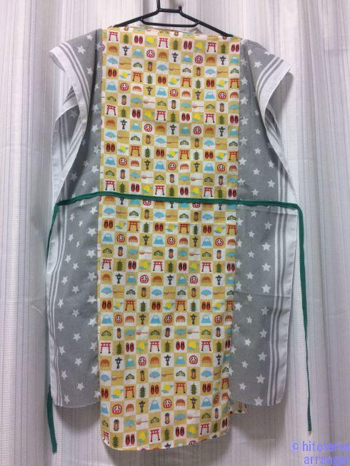 手ぬぐいで作った湯上がり着のウエストのひもの画像