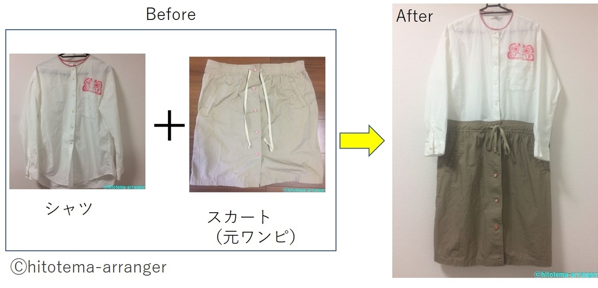 Beforeにシャツとスカート、Afterにシャツワンピースの画像