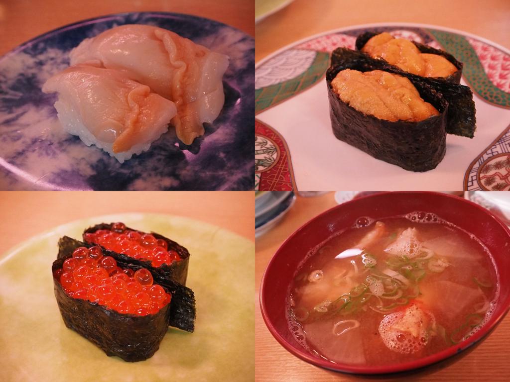 回転寿司の赤貝、ウニ軍艦、イクラ軍艦、カニ汁
