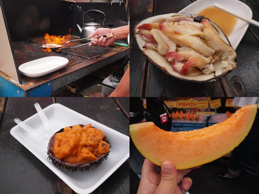 焼いてもらったほっき貝、スプーンで食べる殻付きウニ、定番ちっくに夕張メロン