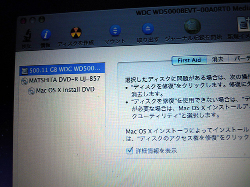 ハードディスクの確認画面