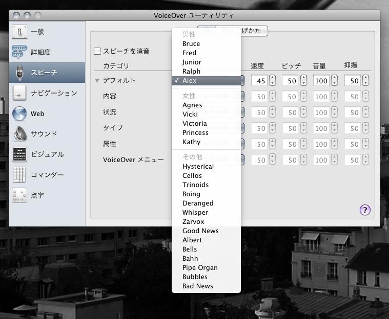 Mac:VoiceOver設定画面
