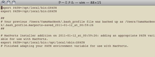 viで.bash_profileを開いている画面