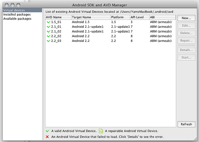 Android SDK and AVD ManagerのVirtual Devices画面