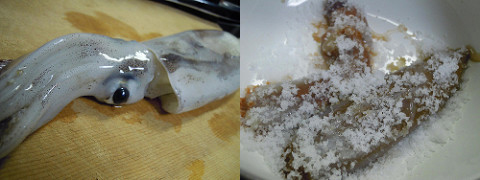 自家製イカの塩辛に使うイカ、下ごしらえ中の肝