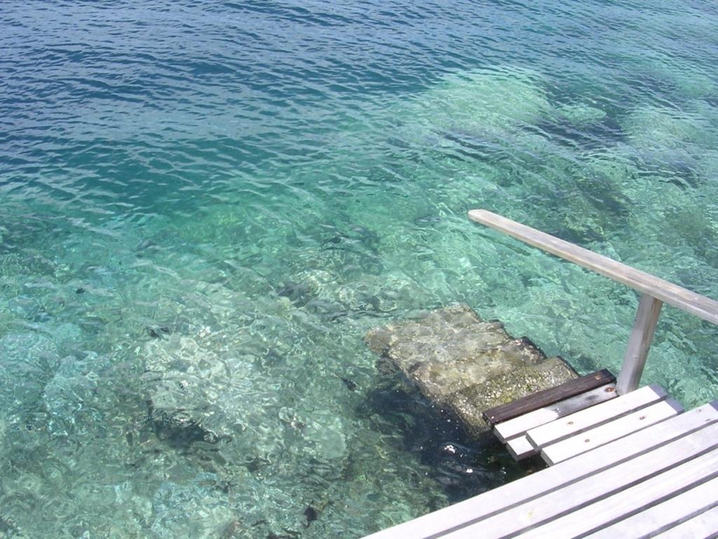 水上コテージから直接海へと続くデッキ