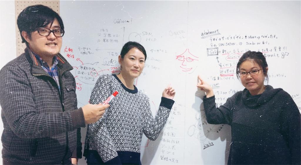 メンバーで記念写真:左から赤羽さん、津久井さん、不在のためイラストで登場の尾形さん、山岸