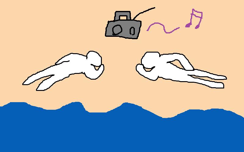 浜辺で寝そべるデートのイメージ
