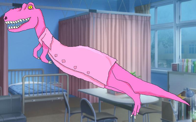 ナース服を着たティラノサウルス