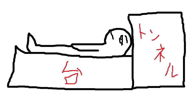 MRIの台に乗ってる人のイメージ