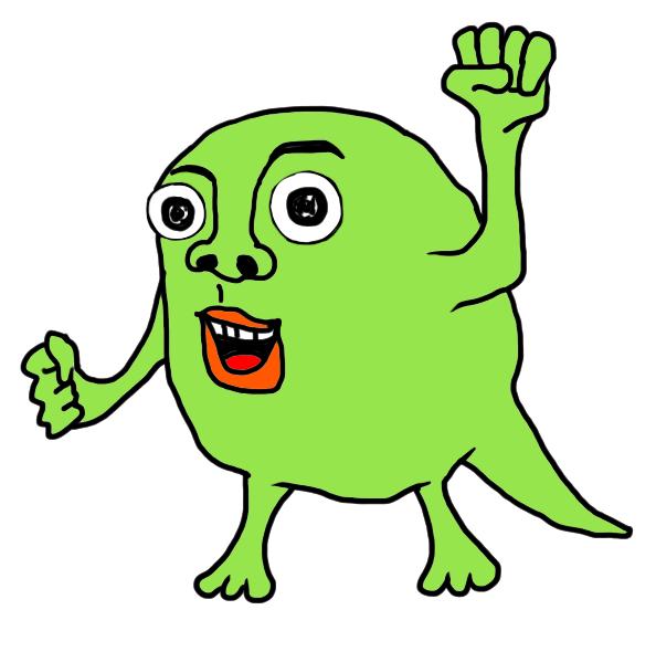 意気込む緑色のモンスター の無料イラスト ホビヲノエ