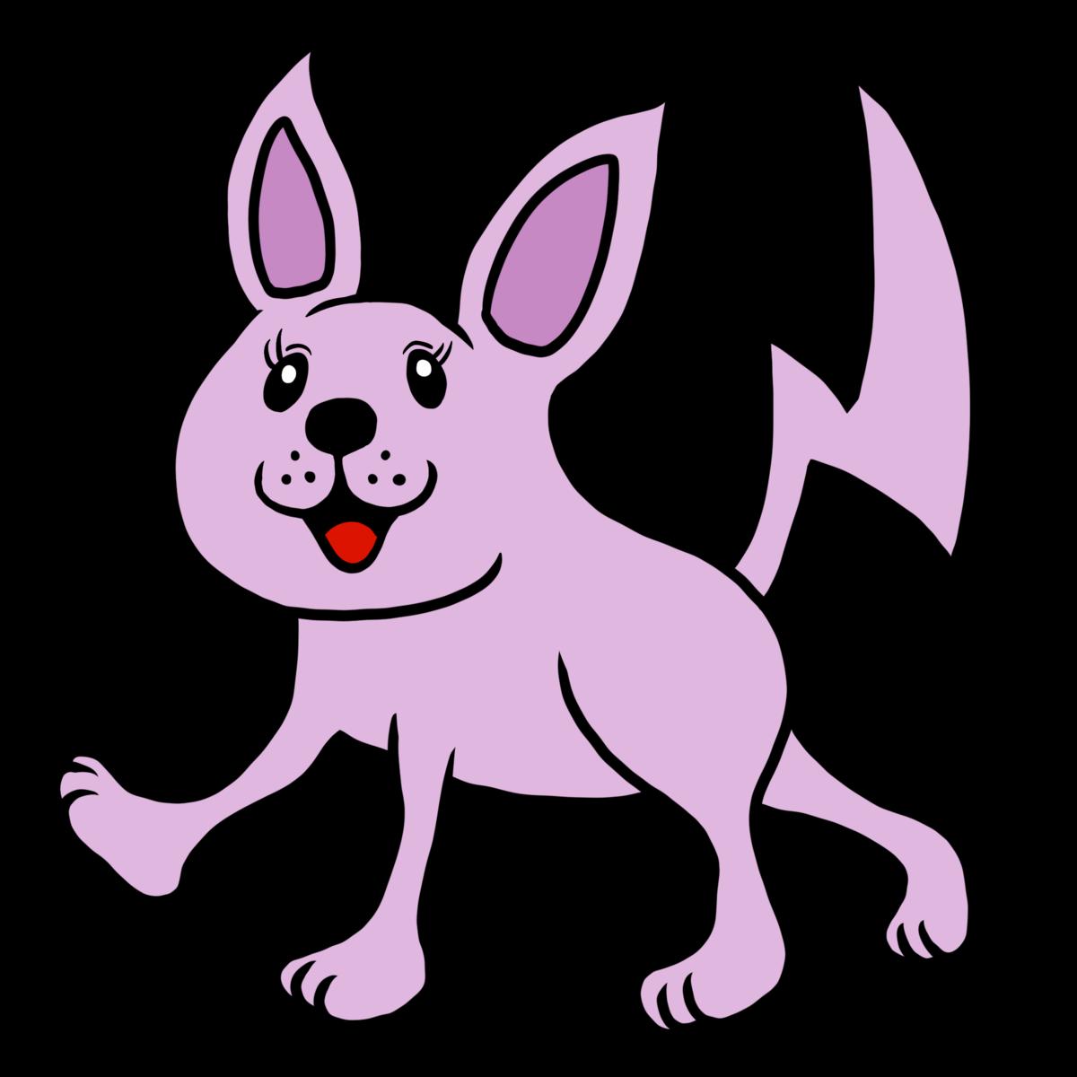紫色のかわいいネズミのような猫のイラスト