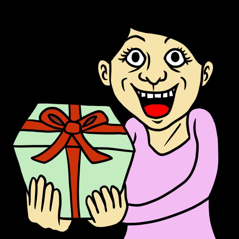 プレゼントを手にする女性