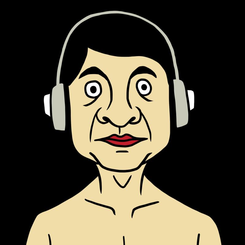 音声コンテンツを聴く男性