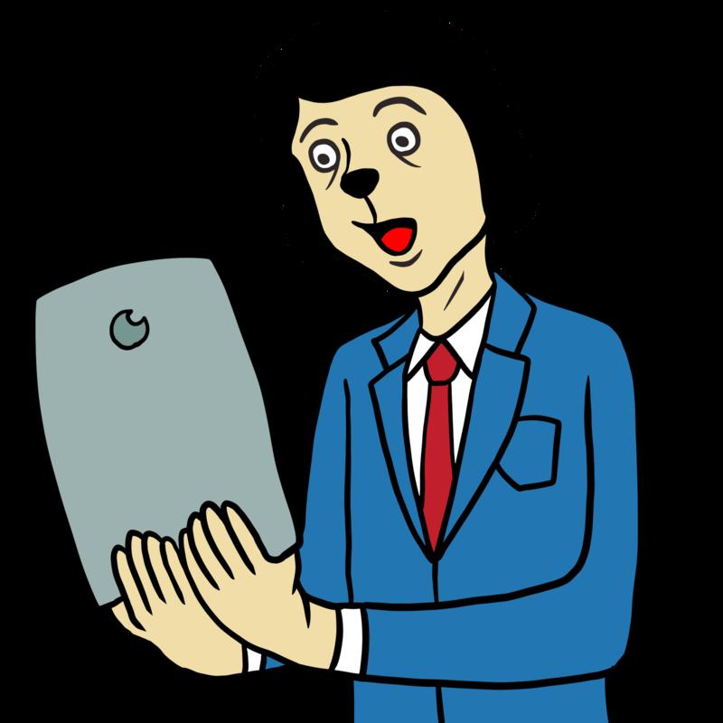 タブレットを手にする男性のイラスト