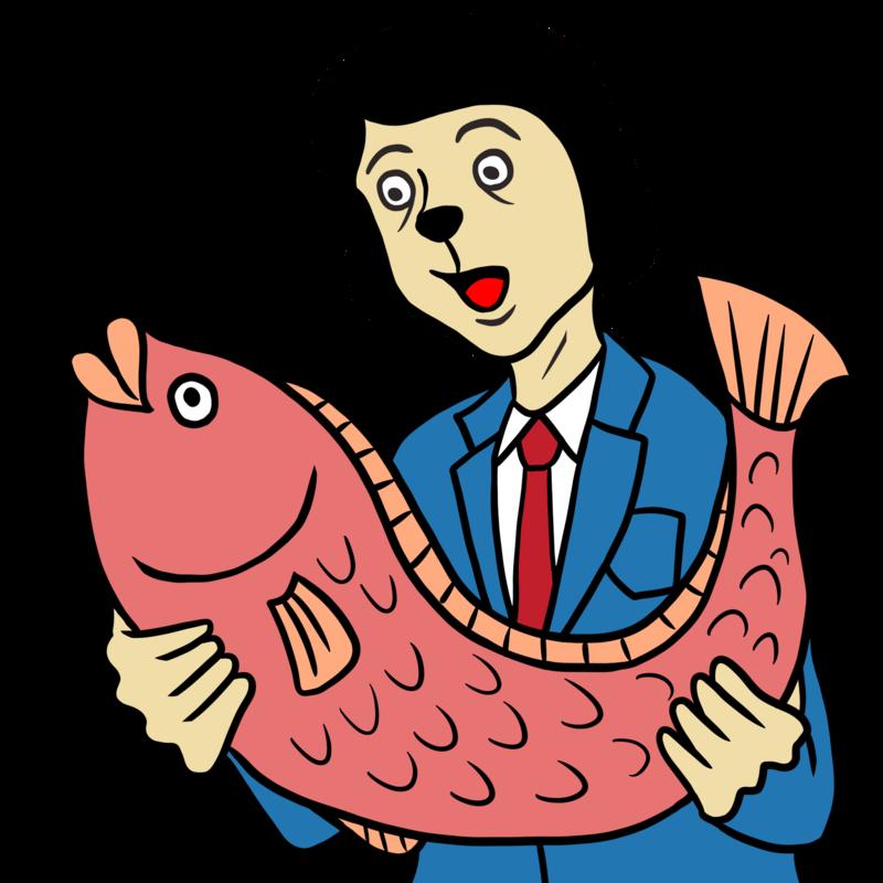 大きな魚を手にする男性のイラスト