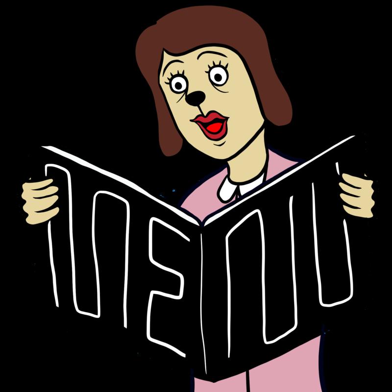 メニューを読むかわいい女性のイラスト