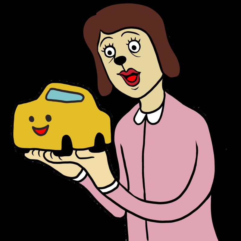 小さな車を手にする女性 のイラスト