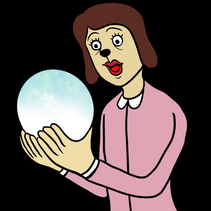 水晶占いをする女性のイラスト