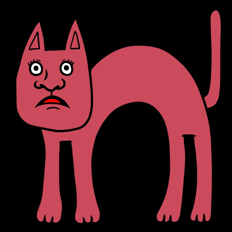 怯える猫ちゃんのイラスト