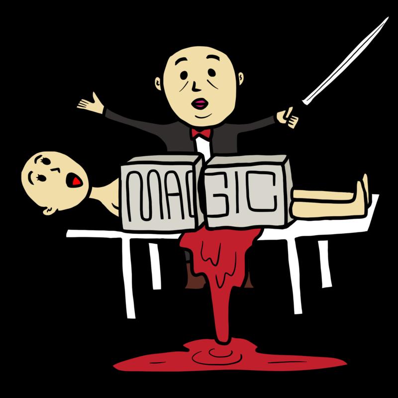 マジックで大失敗したマジシャンのイラスト