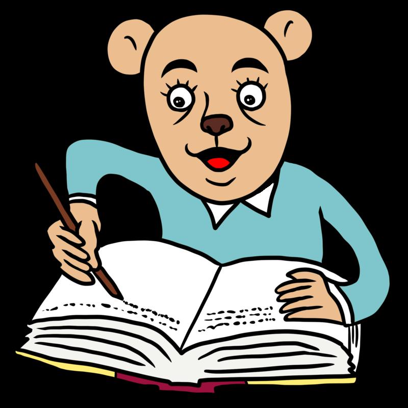 日記を書くクマのイラスト