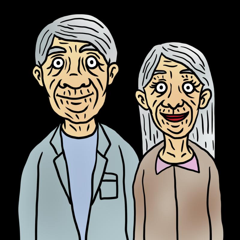 かなりの老夫婦のイラスト