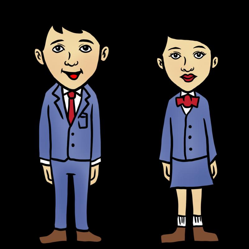 中学生男子と中学生女子のイラスト