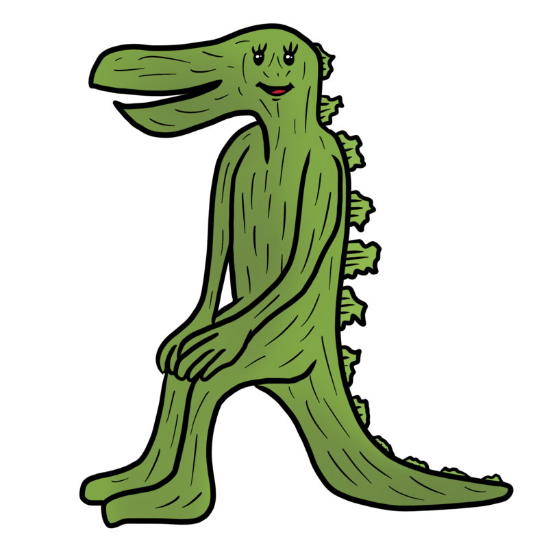 椅子がないのに座れてしまう怪獣のイラスト