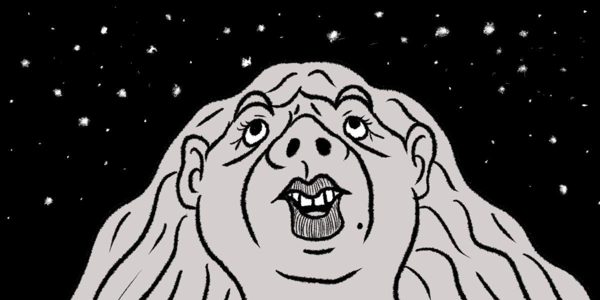 満点の星空を見上げる女性