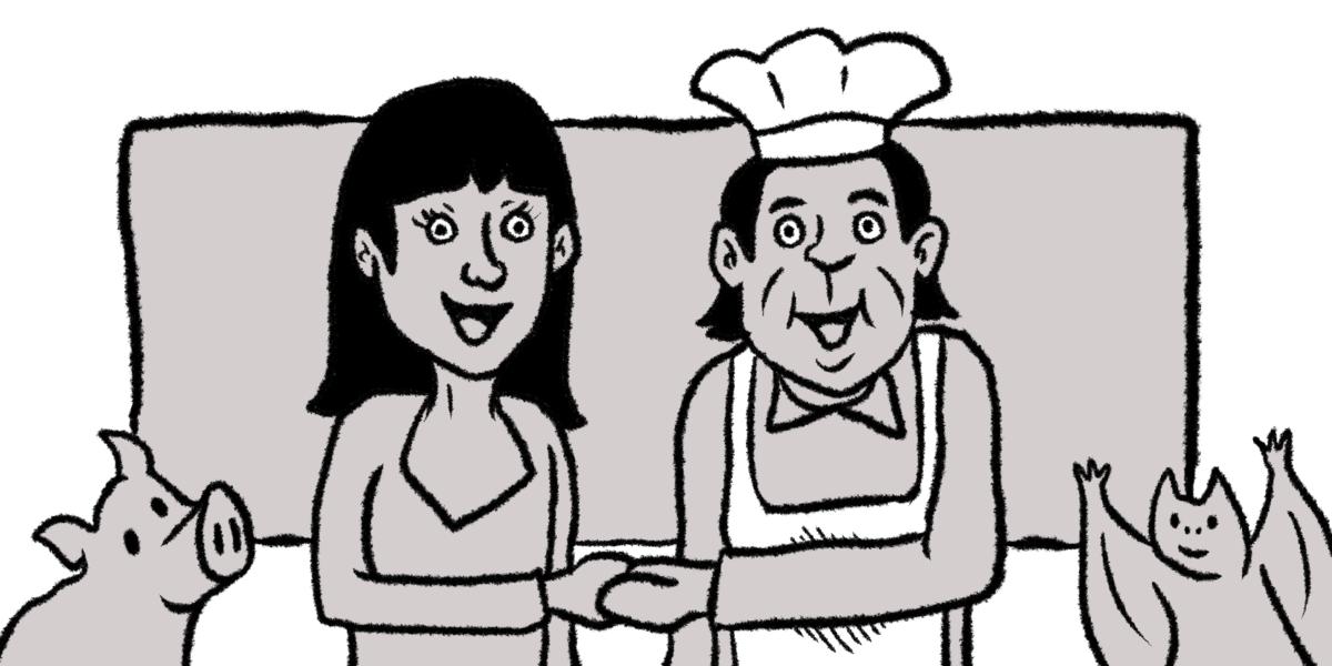 料理長と握手する女性