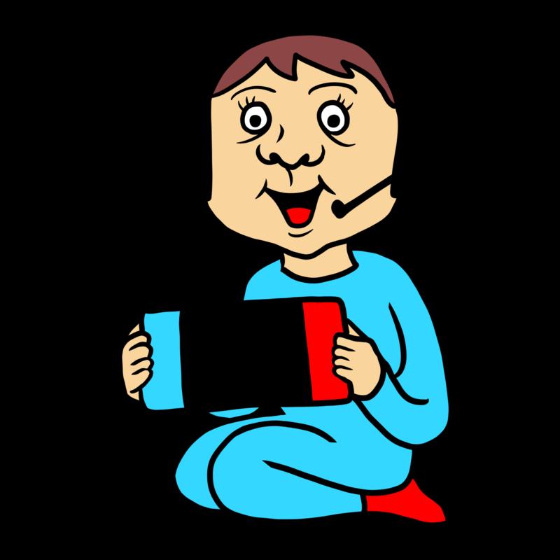 ゲームをする子供のイラスト