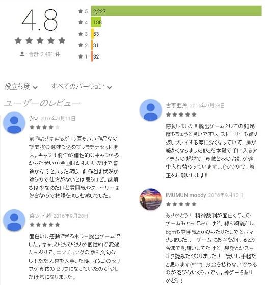 四ツ目神 Google Play レビュー