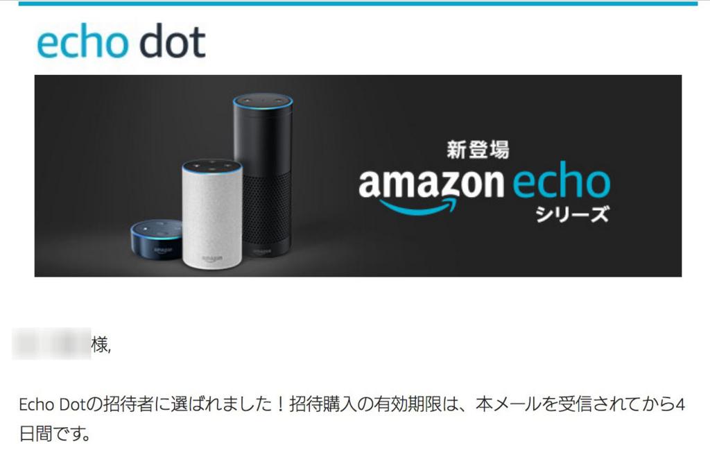 Echo dot招待メール