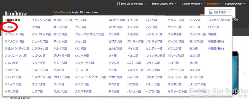 GearBest表示言語2