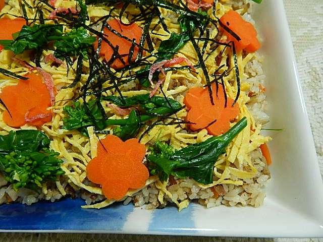 菜花と鯖缶のチラシ寿司