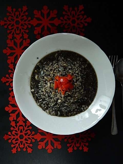 黒ゴマの玄米リゾット風