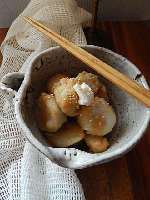 里芋の煮っ転がし、みそバター風味