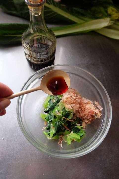 小松菜に味付け
