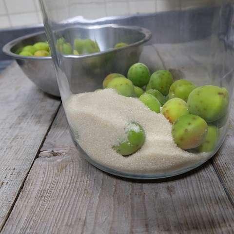 梅と砂糖を交互に入れる