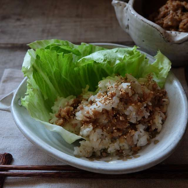 ニンニク肉みそ混ぜご飯の写真