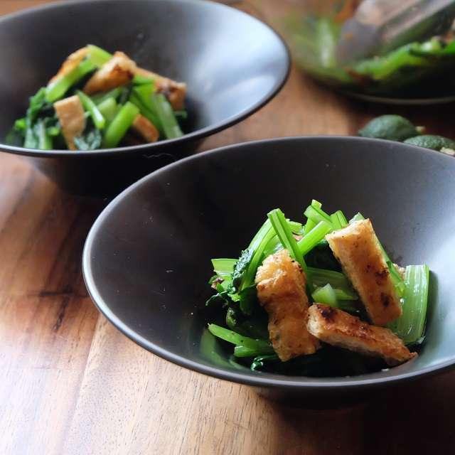 小松菜と油揚げの柚子胡椒和えの完成写真